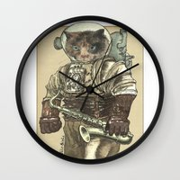saxophone Wall Clocks featuring Space Cat with Saxophone by Felis Simha