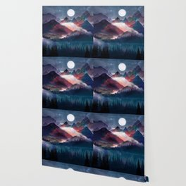 Mountain Lake Under the Stars Wallpaper