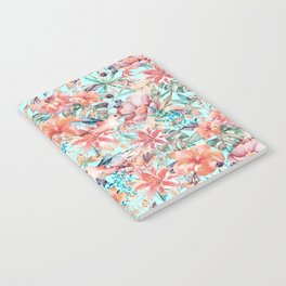 Tropical Jungle Flowers And Birds In Soft Pastels Notebook