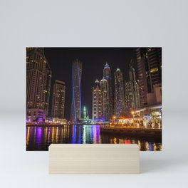 Dubai Marina water reflections Mini Art Print