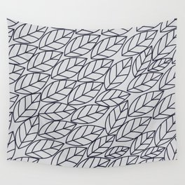 Doodle Leaves Light Grey and Navy Wall Tapestry