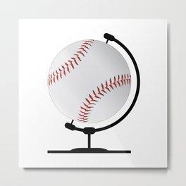 Mounted Baseball On Rotating Swivel Metal Print
