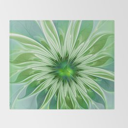 Floral Beauty, Abstract Fractal Art Throw Blanket