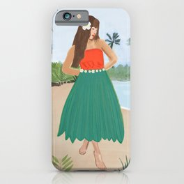 Hula dancer hawaiian girl art print iPhone Case