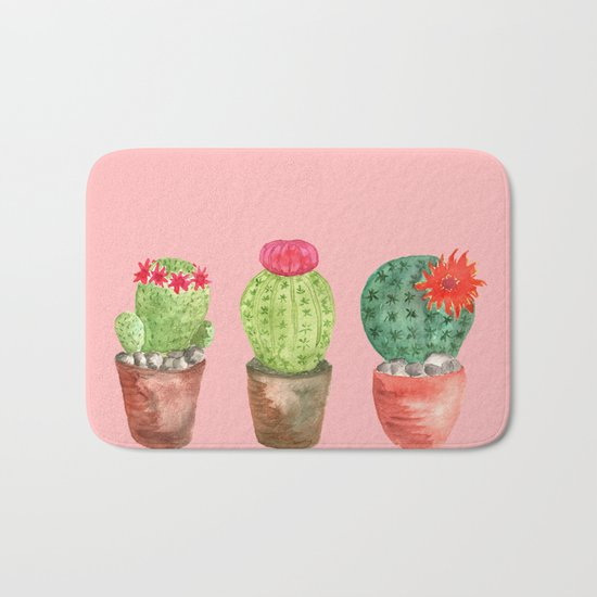 Three Cacti watercolor pink Bath Mat