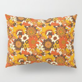 Retro 70s Flower Power, Floral, Orange Brown Yellow Psychedelic Pattern Pillow Sham