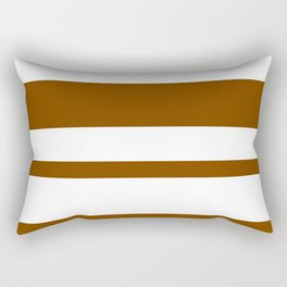 Mixed Horizontal Stripes - White and Chocolate Brown Rectangular Pillow