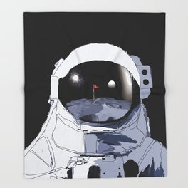 Astronaut Golf Course on the Moon Throw Blanket