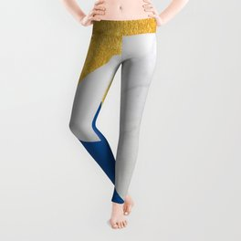 Carrara marble with gold and Pantone Lapis Blue color Leggings