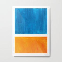 Colorful Jewel Tones Blue Gold Color Block Minimalist Watercolor Art Modern Simple Shapes Metal Print