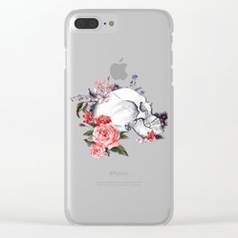 Roses Skull - Death's head Clear iPhone Case