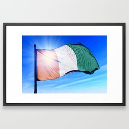 Cote d'Ivoire flag waving on the wind Framed Art Print