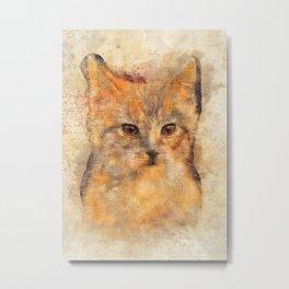 Ginger cat art Metal Print