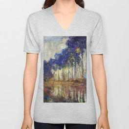 Poplars on the Bank of the Epte River by Claude Monet Unisex V-Neck