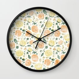 Faded Flowers Wall Clock