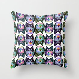 warhol wizard face Throw Pillow