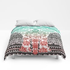 Indian Painted Elephant Comforters