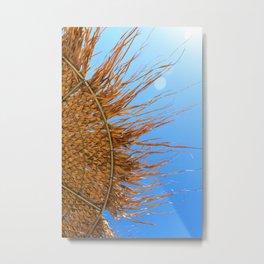 Summer time! | Abstract photograph of an umbrella on a Greek beach | Fine art photo print.  Metal Print