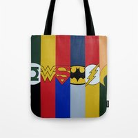 justice league Tote Bags featuring Justice Logo's by iankingart