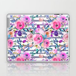 Pink mauve lilac hand painted watercolor roses floral stripes Laptop & iPad Skin