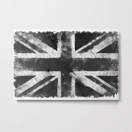 Black and white England Grunge flag Metal Print