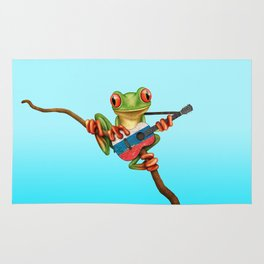 Tree Frog Playing Acoustic Guitar with Flag of Russia Rug