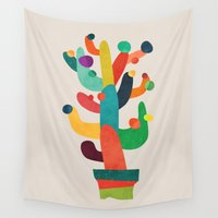 cactus Wall Tapestries featuring Whimsical Cactus by Picomodi
