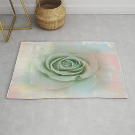 Elegant Painterly Mint Green Rose Abstract Rug