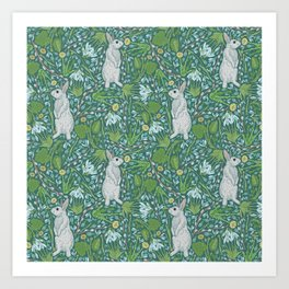 Grey hares with coltsfoots and snowdrops on green background Art Print