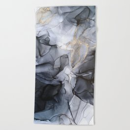 Calm but Dramatic Light Monochromatic Black & Grey Abstract Beach Towel