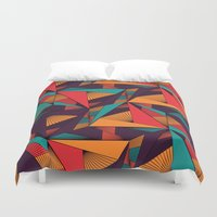 arya Duvet Covers featuring Hexagonal Lines and Triangles by Hinal Arya