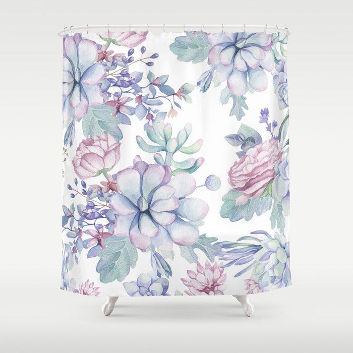 Pretty Blue Pink Succulents Garden Shower Curtain