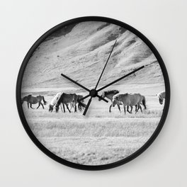 Horses in Iceland Photograph Wall Clock