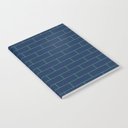 Running Bond Navy and Green Notebook