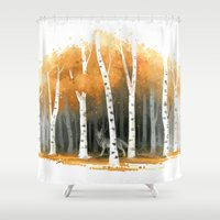 autumn Shower Curtains featuring Autumn Wolf by Freeminds