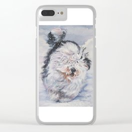 Old English Sheepdog dog art from an original painting by L.A.Shepard Clear iPhone Case