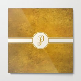 Monogram Letter P on Golden Textured Background Metal Print