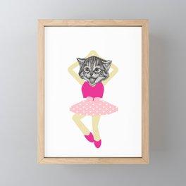 Cat Person Ballerina Dancer Gift Framed Mini Art Print