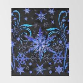 DECORATIVE BLACK & BLUE WINTER SNOWFLAKE FANTASY ART Throw Blanket
