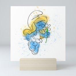 Smurfette Watercolour Splash Doodle Mini Art Print