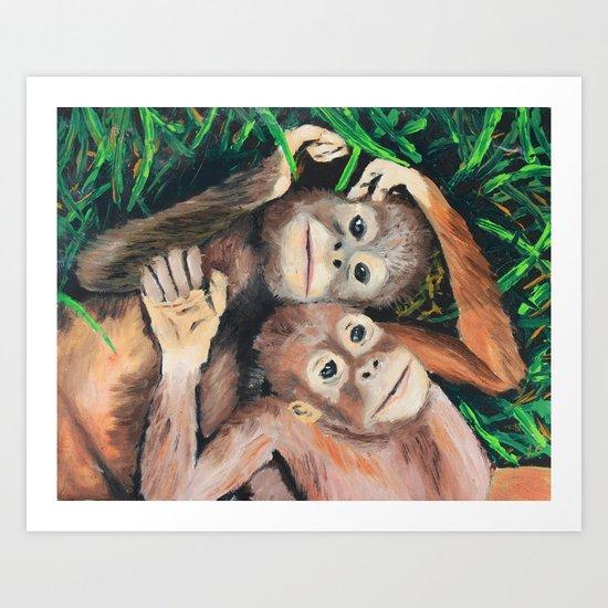 Baby Orangutans Art Print