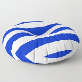 Cobalt Blue and White Wide Cabana Tent Stripe Floor Pillow