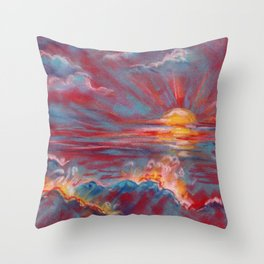 Sea sunset - abstract colorful landscape Throw Pillow