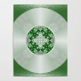 Vinyl Record Illusion in Green Poster