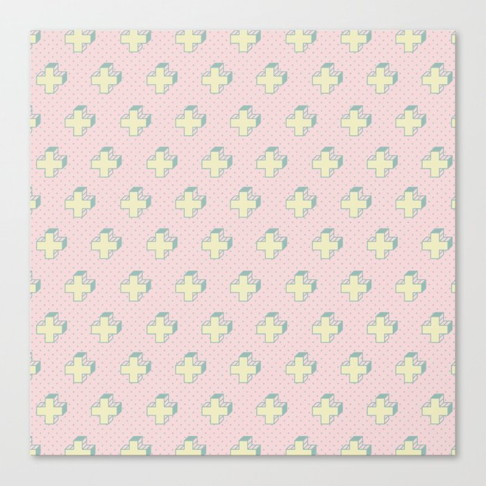 Memphis Pattern Gemetrical Plus Retro Art In Pink And Yellow Mix Match Canvas