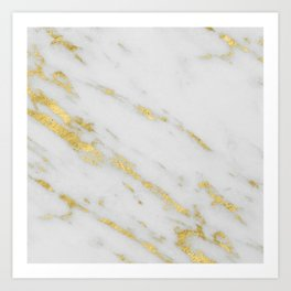 Marble - Shimmery Gold Marble on White Pattern Art Print