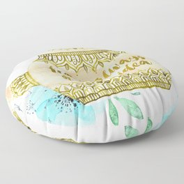 Watercolor Teapot Flowers Floor Pillow