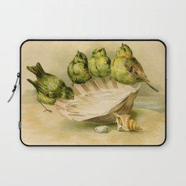 Vintage Yellow Birds on Seashell Laptop Sleeve
