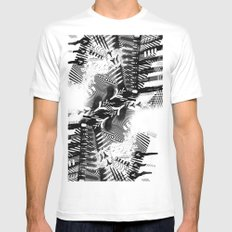 GRAY AND BLACK White MEDIUM Mens Fitted Tee