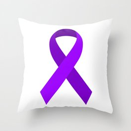 Purple Awareness Support Ribbon Throw Pillow